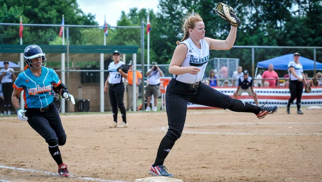 District III All-Star Mariah Roger catches the ball at first base as the Delaware team defeated Latin America 8-1 on Tuesday, Aug. 2 in Roxana.