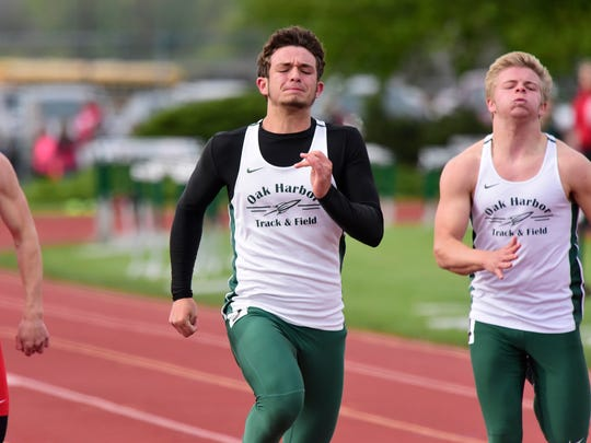 Oak Harbor track and field - boys 100 meter dash