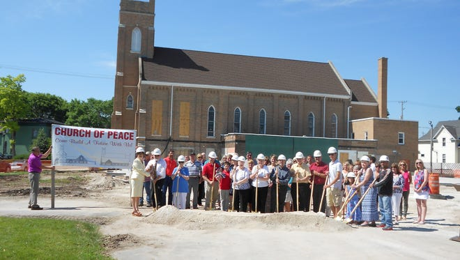 Members of the Church of Peace UCC, 158 S. Military Road, broke ground on a renovation for their foundation on June 19.