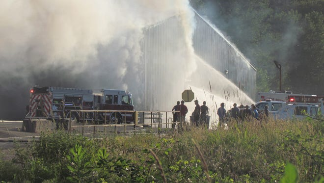 Fire fighters from multiple districts responded to a large structure fire in Building No. 4 at Freres Lumber Company, Lyons. ODOT closed Highway 226 near the entry point to the building.