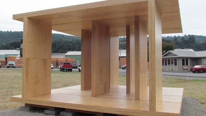 """Mass-plywood panel pavilion in Lyons, which was part of a Portland Art Museum exhibit, is playfully dubbed """"Freres Stonehenge."""""""