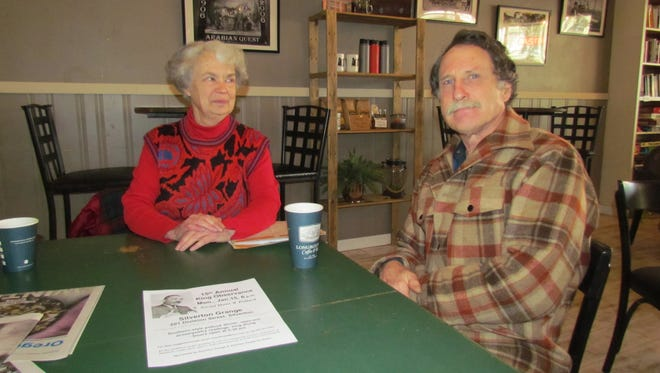 Silverton People for Peace advocates Rose Hope and Robert Sisk stopped into Live Local Coffee House for a Creekside Chat and to invite all to an MLK Day potluck to be held at Silverton Grange.