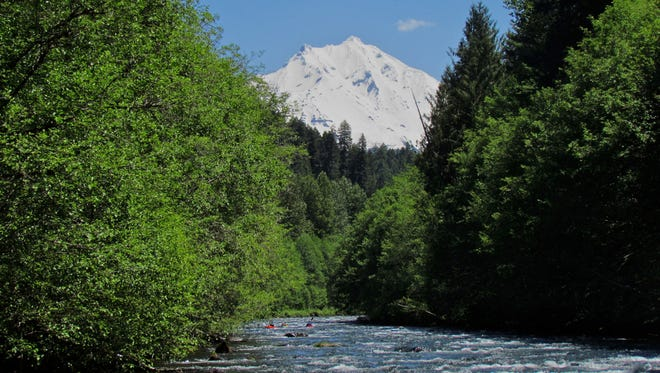 Mount Jefferson rises above the North Santiam River.