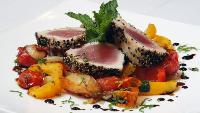 Pepper Crust Ahi Tuna served over Jersey summer tomatoes at Nunzio Ristorante Rustico in Collingswood. The restaurant is participating in the borough's upcoming Farm to Fork Restaurant Week and its red, white and blue theme.