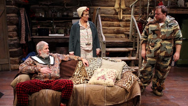 """John Lepard, Sandra Birch and Aral Gribble in the Michigan Premiere of """"A Hunting Shack Christmas"""" by Jessica Lind Peterson."""