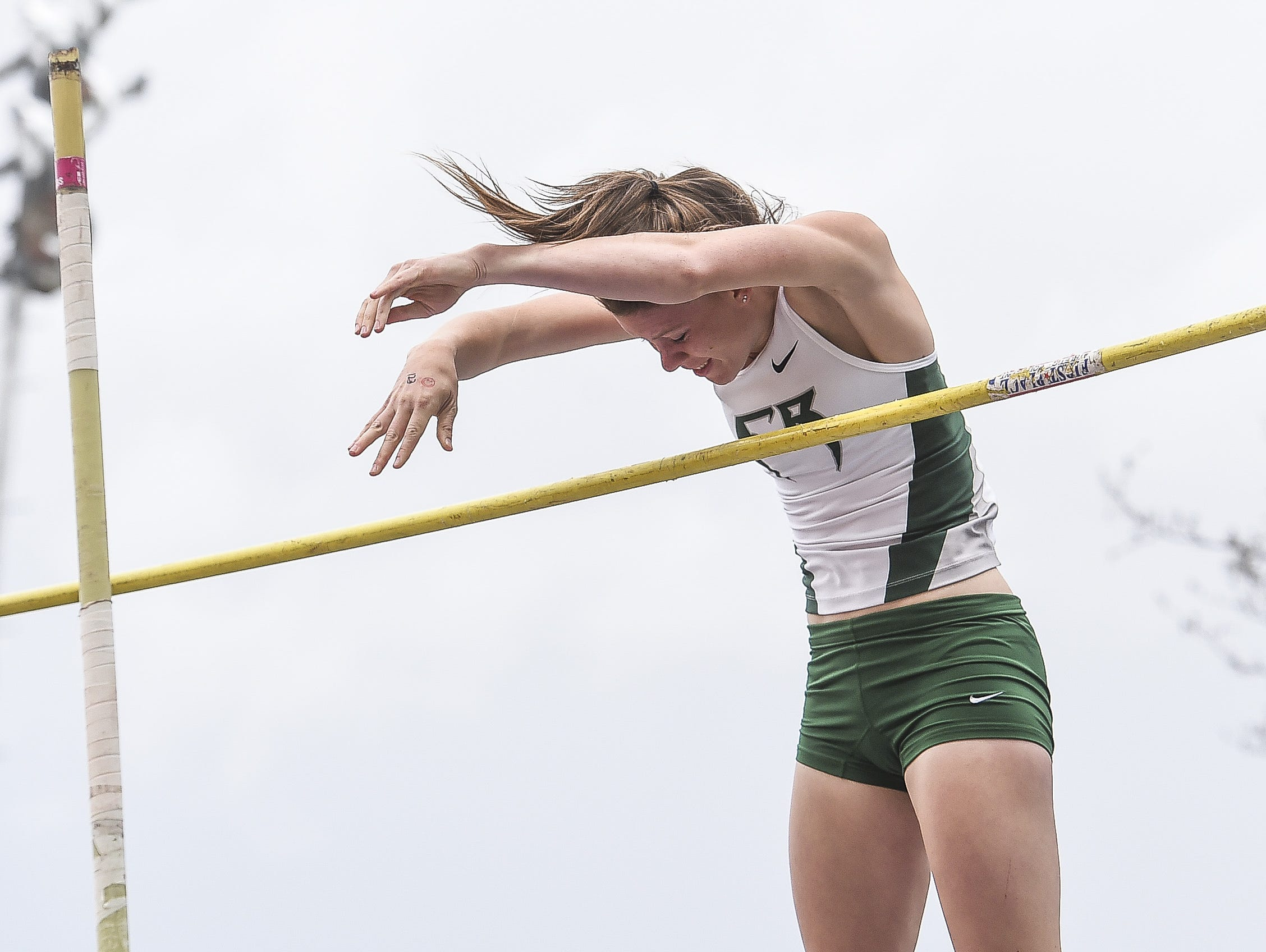 Fossil Ridge's Chloë Woest competes in pole vault at the state tournament last year. Woest is ranked first entering this year's state meet.