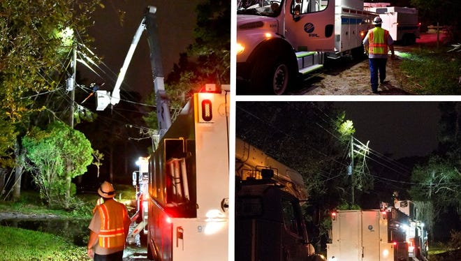 FPL crews work to restore power after Hurricane Matthew in Melbourne, Florida.