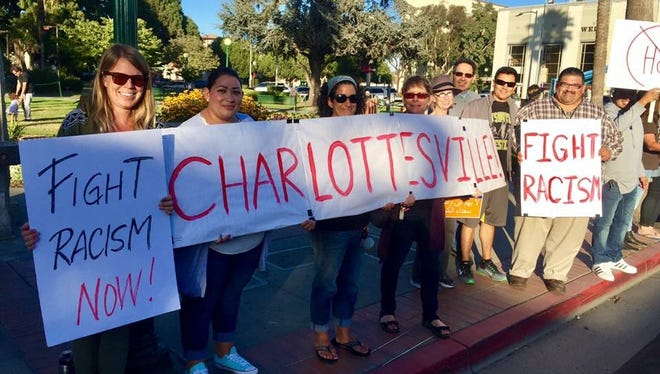 An anti-racism protest in Watsonville, Calif. over the weekend drew at least 100 attendees.