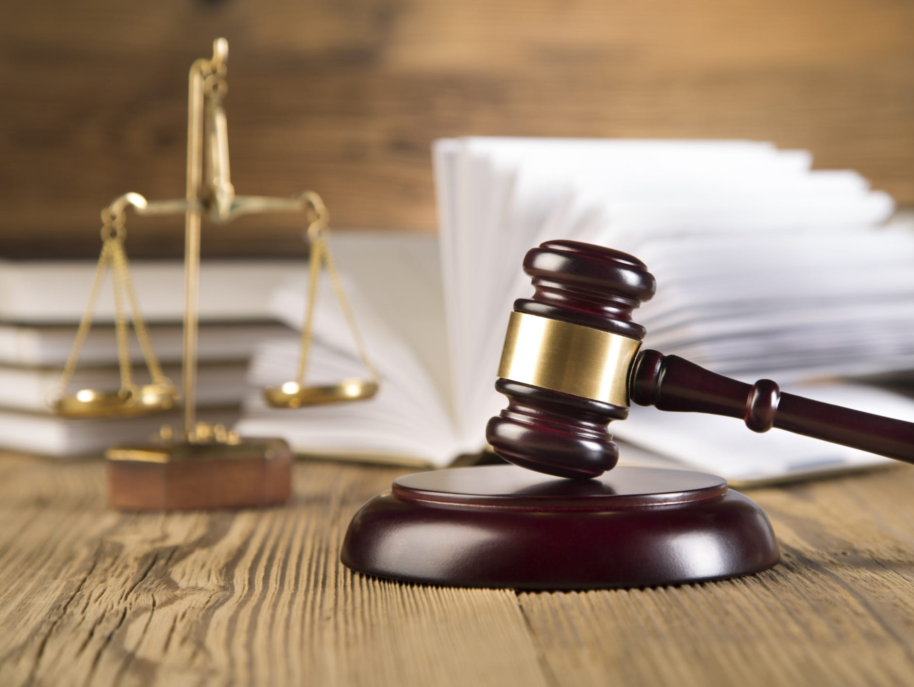 Scales of justice, gavel and books,