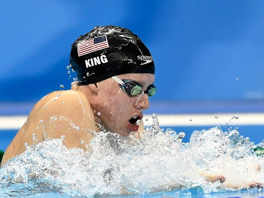 United States' Lilly King competes during the women's 200-meter breaststroke semifinal in the swimming competitions at the 2016 Summer Olympics, Aug. 10, 2016, in Rio de Janeiro.