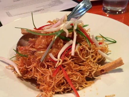 Wasabi Thai Sushi's mee krop was shrimp tossed with
