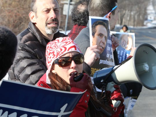 Nyack HIgh School teachers and staff  protest at the school against Gov. Andrew Cuomo's schools budget and other education reforms March 2, 2015. The Nyack NYSUT held the protest in conjunction with others around the state.