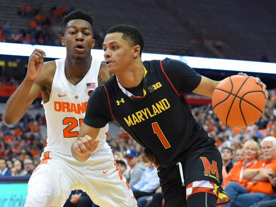 Maryland Terrapins guard Anthony Cowan (1) drives to