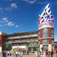 An artist rendering of the new Atlanta Braves Stadium.