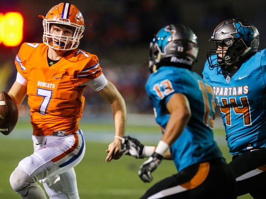 Central's Maverick McIvor runs the ball during the Bobcats' win over El Paso Pebble Hills on Nov. 17, 2017, at San Angelo Stadium.