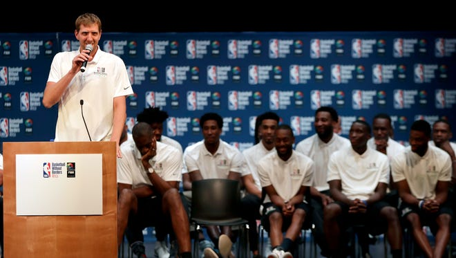 """Dirk Nowitzki speaks during the media conference for """"Basketball Without Borders"""" Africa, the NBA and FIBA's global basketball development and community outreach program."""