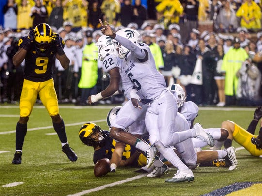 Michigan State S David Dowell (6) celebrates after a Michigan pass-attempt was broken up in the end zone in the final seconds of the MSU and U-M game at Michigan Stadium in Ann Arbor on Sat., Oct. 7, 2017.