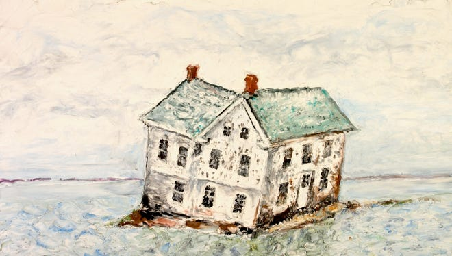 """A view of the last house on Holland Island, surrounded by the Chesapeake Bay in """"The Ballad of Holland Island House."""""""