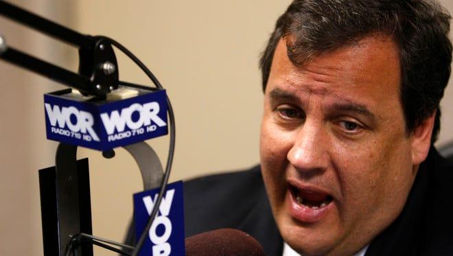 Governor Christie at the WOR-AM radio studios in Manhattan in 2009.