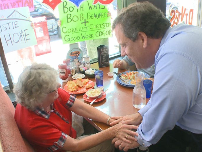 New Jersey Governor Chris Christie visited Sam's No. 3 Diner in Denver Wednesday while campaigning for gubernatorial candidate Bob Beauprez.