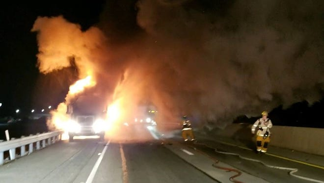 A tractor trailer catches fire on I-83 near Shrewsbury on Dec. 27.