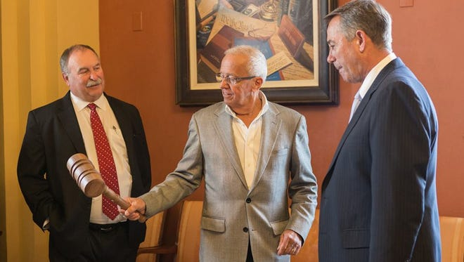 Marty Brennaman, center, visits with Speaker of the House John Boehner, right, and Jerry Vanden Eynden, left, Monday at the U.S. Capitol.