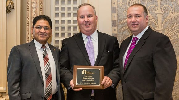 From left to right, Perry Patel, Chairman of Delaware Hotel and Lodging Association, Brad Wenger, and Vince DiFonzo, President Meyer Jabara Hotels.
