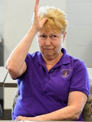 MIKE LAWRENCE / THE GLEANERDoris Sullivan signing a phrase during a American Sign Language class, offered in the summer, at Henderson Community College Tuesday, August 9, 2016.