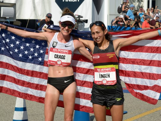 Amy Cragg, left, and Desiree Linden pose with U.S.