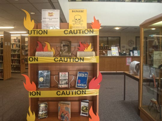 A banned books display is shown at the Collingwood