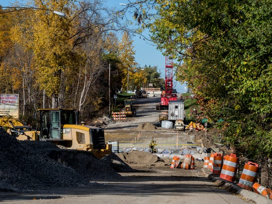Construction is underway Friday, Nov. 4, 2016 at the M-25 bridge over Mill Creek in Worth Township. The bridge is expected to reopen on Nov. 22.