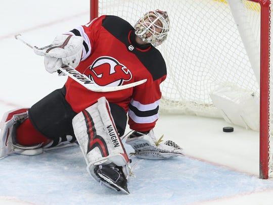 Mar 29, 2018; Newark, NJ, USA; New Jersey Devils goaltender