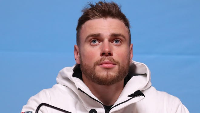 Gus Kenworthy during the slopestyle skiing press conference.