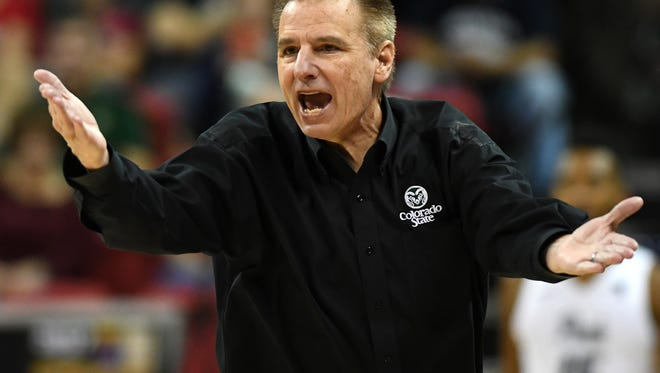 CSU men's basketball coach Larry Eustachy argues a call with officials during last year's championship game at the Mountain West tournament in Las Vegas. Eustachy and his program are under investigation by the university for the second time in four years, athletic director Joe Parker acknowledged earlier this week.