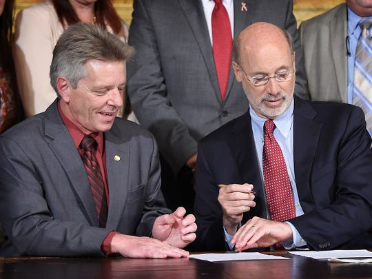 State Representative Russ Diamond, R-102, poses with Pennsylvania Gov. Tom Wolf during a signing ceremony Oct. 19 at the Governor's Reception Room at the Pennsylvania State Capitol.
