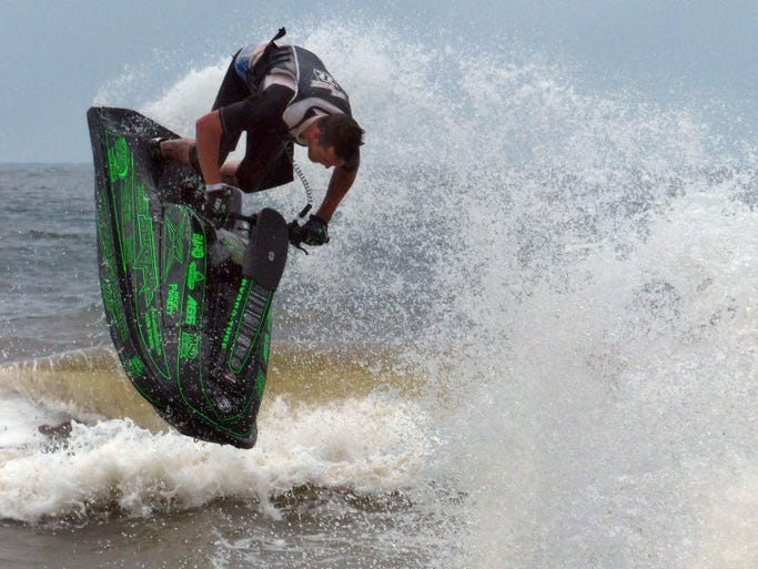 Jace Forest competes in the Hydro-Turf Pro Watercross Tour professional freestyle competition Sunday off of Pensacola Beach.