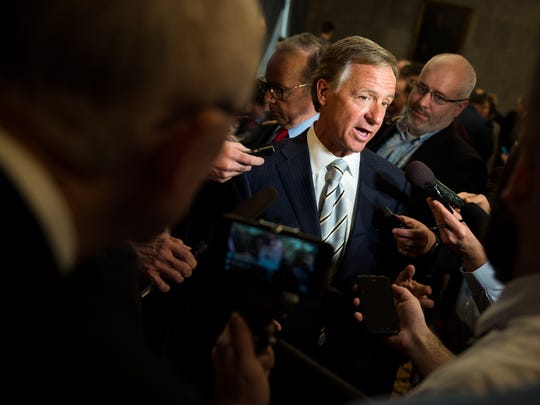 Gov. Bill Haslam speaks to reporters at the state Capitol