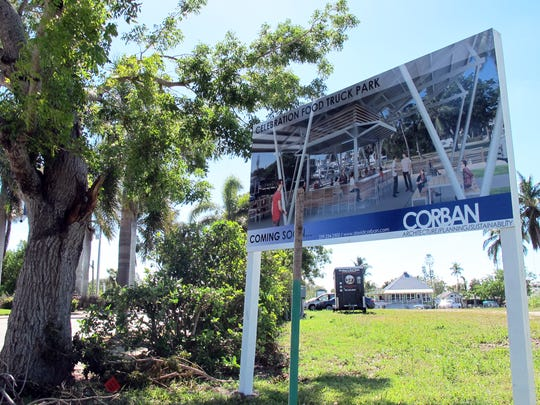 Celebration Park, a venue of food trucks off Bayshore Drive in East Naples, is targeted to launch in November on this lot across from Three60 Market, background, on Haldeman Creek.