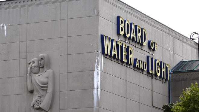 A sculpture of the Greek water bearer Aquarius adorns the facade of the Board of Water and Light Dye Conditioning plant in this 2010 LSJ file photo.