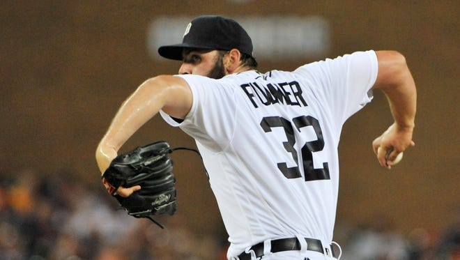 Tigers pitcher Michael Fulmer works in the fifth inning in Saturday's game against the Angels.