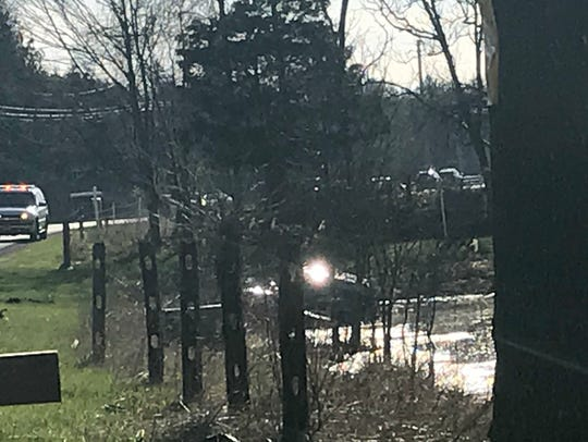 A car wound up in the water after a multi-vehicle accident