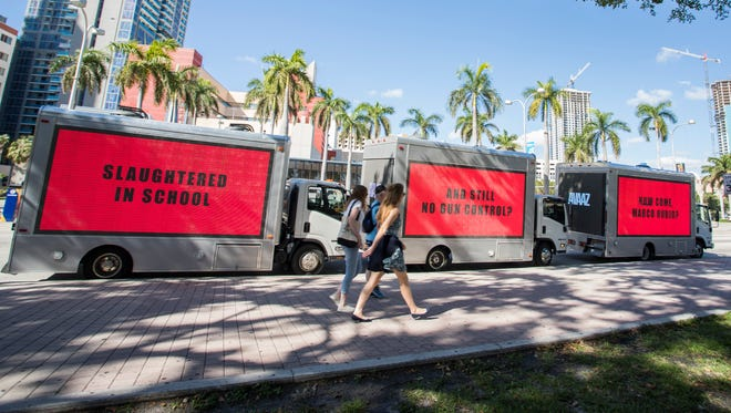 Civic group Avaaz released three mobile billboards in Miami calling for gun control. The billboards, which troll Sen. Marco Rubio, are modeled after an Oscar-nominated film.