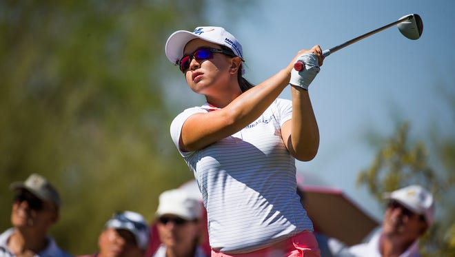 Sei Young Kim, of South Korea, tees off on the 7th hole during the second round at the JTBC Founders Cup LPGA tour event at the JW Marriott Phoenix Desert Ridge Wildfire Golf Club, Friday, March 18, 2016.