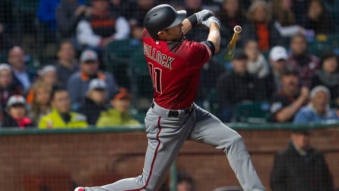 Apr 12, 2017; San Francisco, CA, USA; Arizona Diamondbacks center fielder A.J. Pollock (11) loses his bat as he strikes out against the San Francisco Giants in the second inning at AT&T Park.