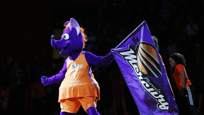 Phoenix Mercury mascot Scorch fires up the crowd before game 3 of the WNBA playoff semifinals against the Los Angeles Sparks at Talking Stick Resort Arena in Phoenix, Ariz. September 17, 2017.