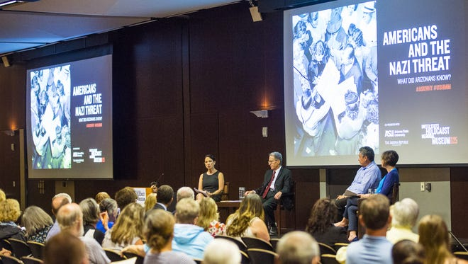 The United States Holocaust Memorial Museum partnered with Arizona State University and Republic Media Monday, Oct. 16, 2017, at ASU in Tempe, Ariz. to host a discussion about how Nazism was perceived by Arizonians during World War II. Panelists drew parallels to today's political divisions on issues like immigration.