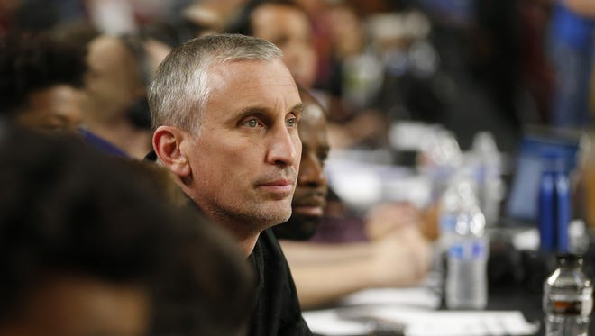 ASU basketball coach Bobby Hurley watches the AIA 6A boys basketball state championship game between Mountain Pointe and Pinnacle at Wells Fargo Arena in Tempe, Ariz. February 28, 2018.