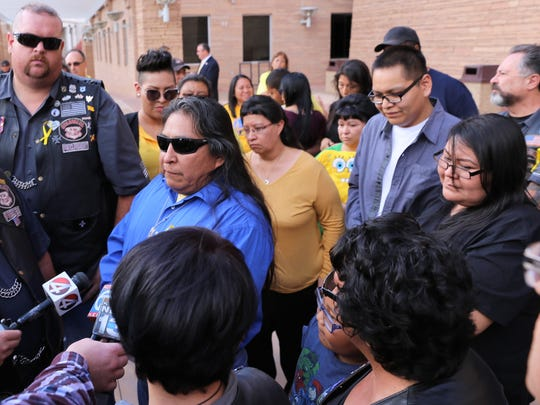 Ashlynne Mike's father Gary Mike, center, speaks outside the Pete V. Domenici United States Courthouse in Albuquerque on Friday about the life sentence given to Tom Begaye Jr. in the murder of Ashlynne.
