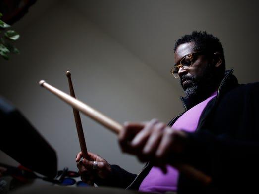 Jazz drummer Gerald Cleaver practices in his Brooklyn