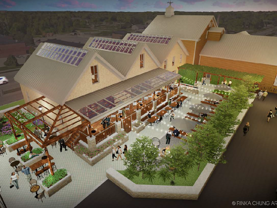 The proposed Foxtown Brewing Co. would be housed in a historic two-story building that was used as a brewery in the 1850s. The building would have lager cave tours, an outdoor beer garden and a public beer hall with a dance floor and banquet hall seating.